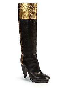 Lanvin Metallic Python & Leather Knee-high Boots In Gold Heeled Boots, Shoe Boots, Shoe Bag, Saint Laurent Boots, Unique Shoes, Manolo Blahnik, Beautiful Shoes, Lanvin, Knee High Boots