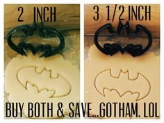 I just screamed a little....2 Batman cookie cutters 2 inches & 3.5 inches by BoeTech on Etsy, $9.75