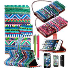 iPhone 4, 4s , 5 Tribal wallet stand case ULAK. Starting at $10 on Tophatter.com!