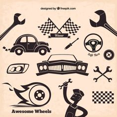 Mechanic icons in retro style - Freepik.com-Silhouettes-pin-6