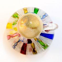 Vintage Fratelli Toso Murano Satin Glass Cruet With a Stopper and Latticino .   LR Antiques