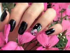 NAIL ART SU SEMIPERMANENTE | One Moves Flowers | mikeligna - YouTube