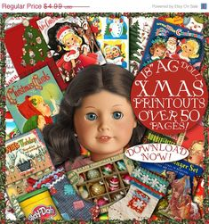 "AG Doll CHRISTMAS Fun Stuff Printables  over 50 pages of Craft things to do with your 18"" American Girl doll"