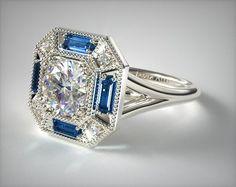 53065 engagement rings, vintage, 14k white gold sapphire baguette milgrain halo engagement ring item - Mobile
