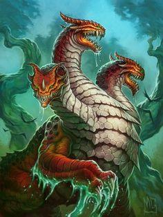 Journey to Un'Goro full art - Hearthstone Wiki Weird Creatures, Magical Creatures, Fantasy Creatures, Fantasy Monster, Monster Art, Hydra Monster, Beast Creature, Warcraft Art, Fantasy Beasts