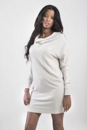 שמלה חורפית עם מעטפת בעורף בשלושה צבעים - שחור, חום ושמנת #לימהסטייל #limastyle #limastyleisrael