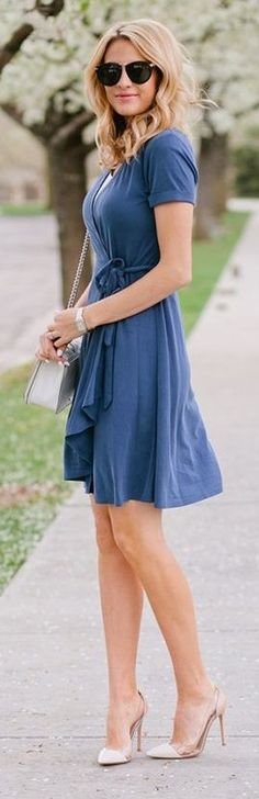 #street #fashion | Blue Wrap Dress | The Ivory Lane