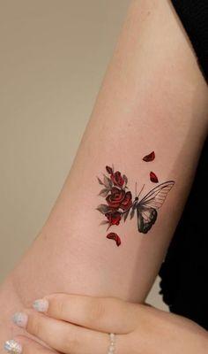 Delicate Tattoos For Women, Dope Tattoos For Women, Butterfly Tattoos For Women, Simplistic Tattoos, Dainty Tattoos, Small Tattoos, Red Tattoos, Little Tattoos, Mini Tattoos