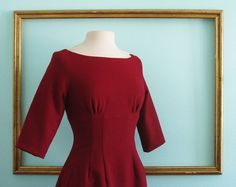 red wool dress with 3/4 sleeves and fully lined by MichelleTan, $159.00