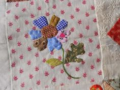 Love this block with it's scrappy petals.  Supergoof Quilts