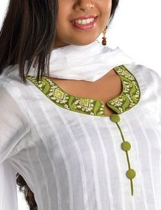 Salwar Neck Designs With Piping Anarkali salwar suit-Different Types Of Kurta Neck Designs - Art & Craft IdeasHow to sew a triangle loop round neck for kurthi Kurtis has become a very integral outfit it Indian fashion industry. From parties to casual wear Chudithar Neck Designs, Churidhar Designs, Neck Designs For Suits, Sleeves Designs For Dresses, Neckline Designs, Blouse Neck Designs, Salwar Neck Patterns, Salwar Kameez Neck Designs, Salwar Pattern