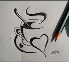 hot coffee Hot coffee with heart Easy Love Drawings, Girl Drawing Sketches, Art Drawings Beautiful, Dark Art Drawings, Girly Drawings, Art Drawings Sketches Simple, Simple Pencil Drawings, Tumblr Drawings Easy, Pencil Drawing Images