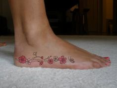 Cherry Blossom Tattoos On Foot | ... : Amazing Foot Japanese Cherry Blossom Tattoos For Girls Picture