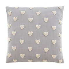 Decorated with french knot embroidered hearts this vintage inspired filled cushion comes in a light natural colour, crafted with a blend of soft cotton and wool and features a removable cover and plump polyester filling. French Knot Embroidery, Hand Work Embroidery, Japanese Embroidery, Hand Embroidery Patterns, Embroidery Applique, Art Patterns, Flower Embroidery, Embroidered Flowers, Embroidery Stitches