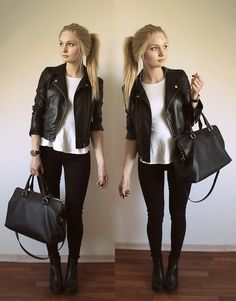 H&M Leather Jacket, New Look Peplum Top, Gina Tricot Molly Jeans, Vincent Voltaire Black/ Gold Watch, Zara City Office Bag, H&M Chelsea Boots