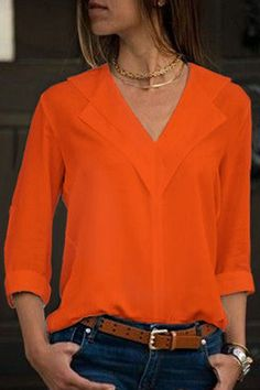 Women v neck long sleeve casual blouse - orange, l Blouse Orange, Orange Shirt, Orange Outfits, Cheap Blouses, Blouses For Women, Women's Blouses, Blouse Styles, Blouse Designs, Country Girl Fashion