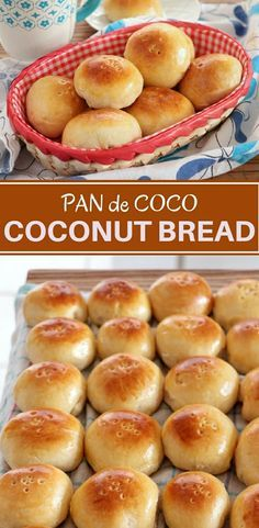 Pan de Coco with soft fluffy bun and perfectly sweetened coconut filling is perfect a snack or dessert This coconut bread is amazing with coffee tea or on its own bread sweetrolls bakedgoods snack recipes filipinofood baking coconut Philipinische Desserts, Filipino Desserts, Filipino Recipes, Dessert Recipes, Snack Recipes, Filipino Food, Plated Desserts, Pinoy Dessert, Mexican Desserts