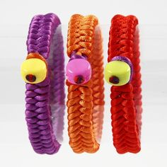 12945 Braided Satin Bracelets with Plastic Beads - DIY Tutorial