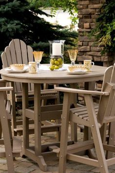 With room for four, our Berlin Gardens 48 Round Poly Dining Table is sure to be a special place where you and your loved ones can enjoy every occasion in your 48 Round Dining Table, Patio Table, Outdoor Dining Furniture, Outdoor Decor, Bar Height Table, Amish Furniture, Patio Design, Outdoor Gardens, Daisy
