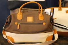 Brouk and Co. travel bag.  Made with Brown and Cream Cotton Leather accents