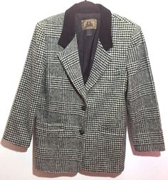 J L Colebrook Houndstooth Coat Large Suede Collar Lined Wool Blend Black White #JLColebrook #BasicCoat #Outdoor
