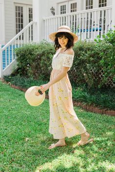 EVERLY OAK | Women's preppy romantic classic style | Floral maxi dress | pink ribbon straw hat | Straw Handbag