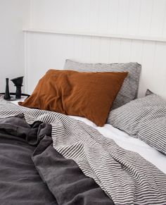 Warm grey french linen quilt cover paired with a charcoal stripe flat sheet & an ochre pillow case! A more masculine vibe. Warm grey french linen quilt cover paired with a charcoal stripe flat sheet & an ochre pillow case! A more masculine vibe. Home Bedroom, Bedroom Decor, Bedroom Ideas, Budget Bedroom, Bedroom Signs, Decorating Bedrooms, Bedroom Apartment, Apartment Therapy, Bedroom Furniture