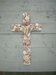 Pink Seashell Cross/Wedding Cross by My Honeypickles www.facebook.com/myhoneypickles