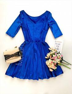 Rochie ocazie scurta cloche din catifea albastra cu maneci trei sferturi si sclipici - Rochii - Rochii banchet Corset, Dresses, Fashion, Tulle, Vestidos, Moda, Bustiers, Fashion Styles, Corsets