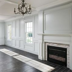 353 Likes, 13 Comments - Stonecroft Homes Picture Frame Wainscoting, Picture Frame Molding, Living Room With Fireplace, Home Living Room, Fireplace Molding, Fireplace Ideas, Wall Panel Molding, Moulding, Bedroom Wall