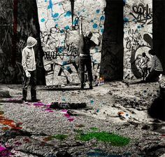 """""""the fall of the Los Angeles empire"""" 2010, street art by Nomade"""