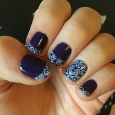 Jamberry Nail Gel Tru Shine with nail wrap overlay.
