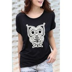 SHARE & Get it FREE | Cute Women's Scoop Neck Short Sleeve Night Owl Printed T-ShirtFor Fashion Lovers only:80,000+ Items·FREE SHIPPING Join Dresslily: Get YOUR $50 NOW!
