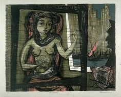 Penelope weaving  Colour lithograph  Benton Spruance  1956  Fine Arts Museums of…