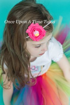 Hot Pink Cupcake Shabby Flower Headband  by OnceUponATimeTuTus