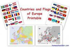 FREE Geography Printable Pack Maps and Flags of Europe