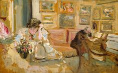 Édouard Vuillard (French, 1868–1940). Jos and Lucie Hessel in the Small Salon, Rue de Rivoli, 1900–1905. The Metropolitan Museum of Art, New York. The Walter H. and Leonore Annenberg (2003.20.18) | After the Natansons were divorced in 1904, Vuillard shifted his familial attachment from them to the art dealer Jos Hessel and his wife, Lucie, who received the artist every evening at six.