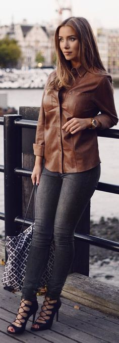 Emilie Tommerberg Camel Leather Button Up L F W Fall Inspo