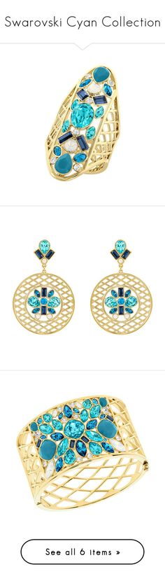 """""""Swarovski Cyan Collection"""" by swarovski ❤ liked on Polyvore featuring Summer, jewelry, rings, swarovski jewellery, swarovski jewelry, swarovski rings, long rings, earrings, swarovski earrings and summer earrings"""