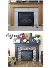 Fireplace makeover - I love the brick, would probably do white for my house, but first would need a REAL mantle!
