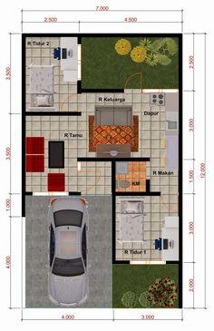 Desain Rumah Minimalis Perumahan Griya Mas Sidoarjo - Denah Type 45 Building A Small House, Small House Floor Plans, Dream House Plans, Modern House Plans, Small House Layout, House Layout Plans, House Layouts, House Front Design, Small House Design