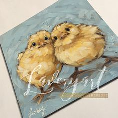 Baby chicken painting Original 6x6 oil painting of two