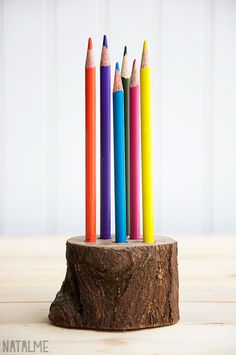 gorgeous natural pencil holder, perfect for Montessori or Waldorf-inspired spaces -Skye