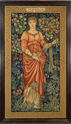 Pomona I am the Ancient Apple Queen, As once I was so am I now. For ever more a hope unseen, Betwix the blossom and the bow. Ah, where's the river's hidden Gold! And where's the windy grave of Troy! Yet come I as I came of old, From out the heart of summer's joy. 'Pomona', tapestry, Sir Edward Burne-Jones and John Henry Dearle. Museum no. T.33-1981