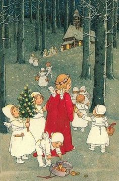 This might be a Pauli Ebner (Austrian) card. Lovely depiction of the Christkind (Christ Child) in red with it's angelic helpers.