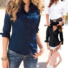 Pin Blusas Femininas Turn Down Collar 2016 Fashion Slim Long Sleeve Blouse Formal Ladies Office Shirts Black to one of your boards if you like it !