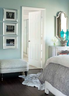 bedroom colors. light blue and gray. I like the shoe pics on the wall too!