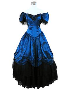 Steampunk®Deep Blue Civil War Southern Belle Ball Gown Dress Victorian Dress Party Dress