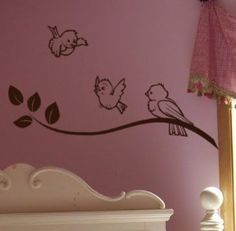 Birdie decals, this would be cute in a little girls room. reminds me of Cinderella