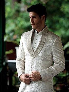 Indian men fashion - Men's Suit Bridal Wear Jacquard Silk Hand Work Sherwani With Churidaar Pazama White Color Indian Men Fashion, Mens Fashion, Groom Fashion, Suit Fashion, High Fashion, Fashion Trends, Wedding Sherwani, Sherwani Groom, Mens Sherwani